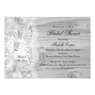 Pretty Vintage Lace & Bow Bridal Shower Invitation