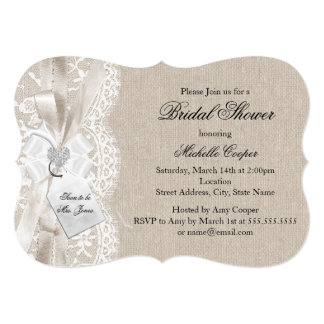 Pretty Vintage Lace & Burlap Bridal Shower Card