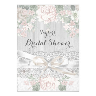 Pretty Vintage Lace & Floral Bridal Shower Invite