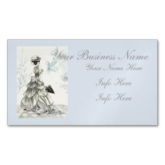 Pretty Vintage Lady And Blue Flowers Business Card Magnet