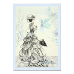 Pretty Vintage Lady And Blue Flowers Card at Zazzle