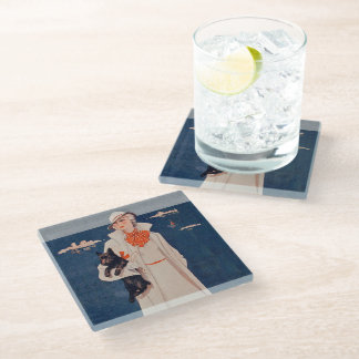 Pretty Vintage Lady Holding Scotty Dog by Ocean Glass Coaster