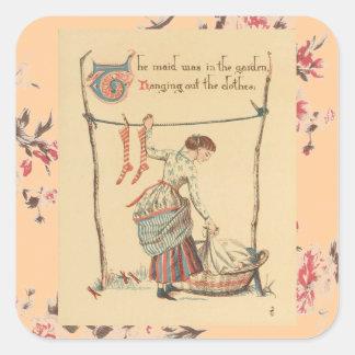 Pretty Vintage Lady Square Sticker