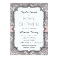 Pretty Vintage Paisley Pink Baby Shower Invitation