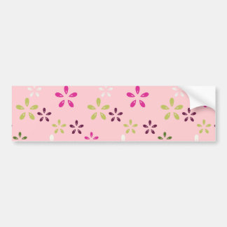 Pretty Vintage Pastel Pink and Purple Floral Print Bumper Sticker