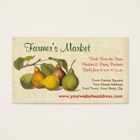 Vintage Pears Farmer's Market Calling Cards
