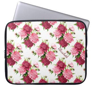 Pretty Vintage Peony Floral Custom Laptop Sleeve