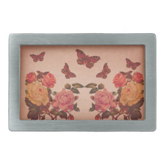 Pretty Vintage Pink Roses and Butterflies Collage Belt Buckle