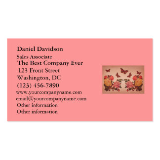 Pretty Vintage Pink Roses and Butterflies Collage Business Card Template