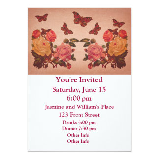 Pretty Vintage Pink Roses and Butterflies Collage Card