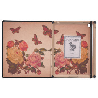 Pretty Vintage Pink Roses and Butterflies Collage Case For iPad