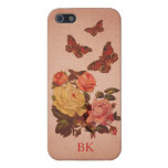 Pretty Vintage Pink Roses and Butterflies Collage Covers For iPhone 5