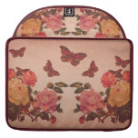 Pretty Vintage Pink Roses and Butterflies Collage Sleeves For MacBooks