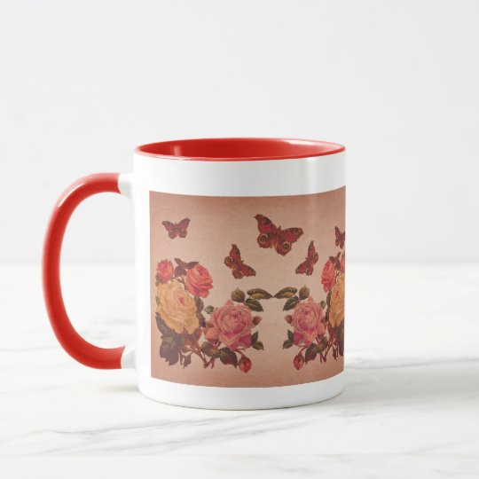 Pretty Vintage Pink Roses and Butterflies Collage Mug