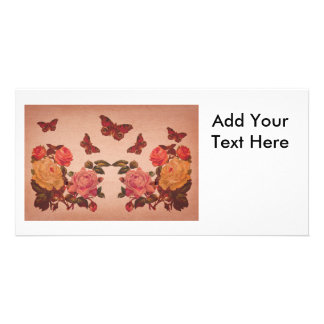 Pretty Vintage Pink Roses and Butterflies Collage Custom Photo Card