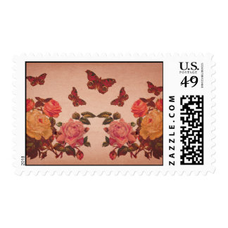 Pretty Vintage Pink Roses and Butterflies Collage Postage Stamp