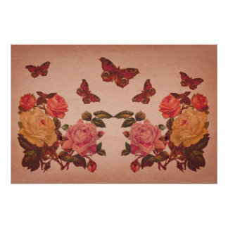 Pretty Vintage Pink Roses and Butterflies Collage Poster