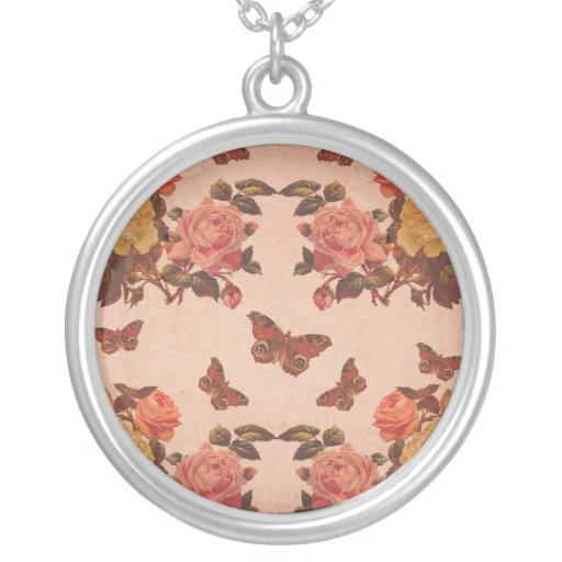 Pretty Vintage Pink Roses and Butterflies Collage Round Pendant Necklace