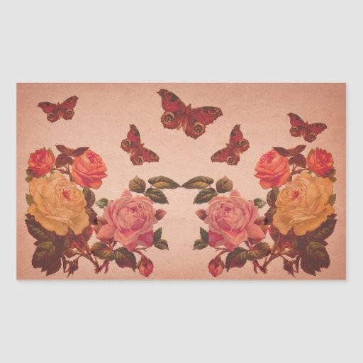 Pretty Vintage Pink Roses and Butterflies Collage Rectangular Sticker