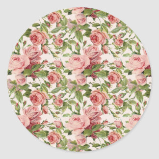 Pretty Vintage Pink Roses Classic Round Sticker