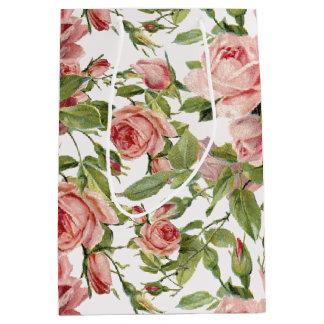Pretty Vintage Pink Roses Medium Gift Bag