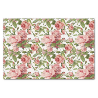 """Pretty Vintage Pink Roses 10"""" X 15"""" Tissue Paper"""