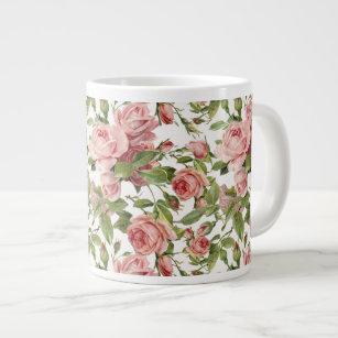 Pretty Vintage Pink Roses Giant Coffee Mug