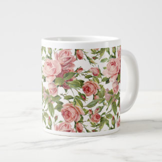 Pretty Vintage Pink Roses Giant Coffee Mug