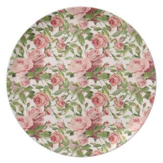 Pretty Vintage Pink Roses Melamine Plate