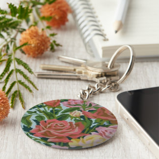 Pretty Vintage Pink Roses PBN Keychain
