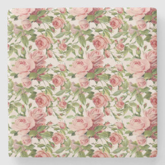 Pretty Vintage Pink Roses Stone Coaster
