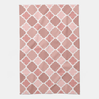Pretty Vintage Quatrefoil Pattern in Muted Pink Kitchen Towel