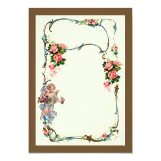 Pretty Vintage Rose & Cherub Border Decoration Card