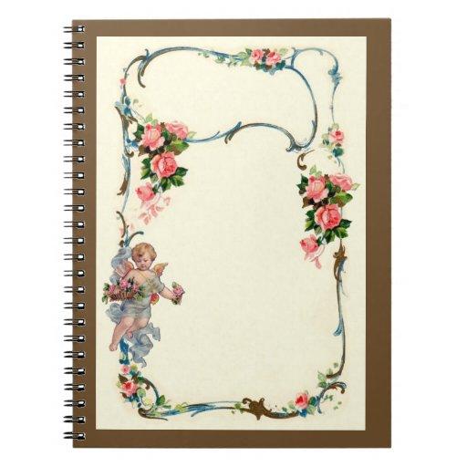 Pretty Vintage Rose & Cherub Border Decoration Spiral Notebooks