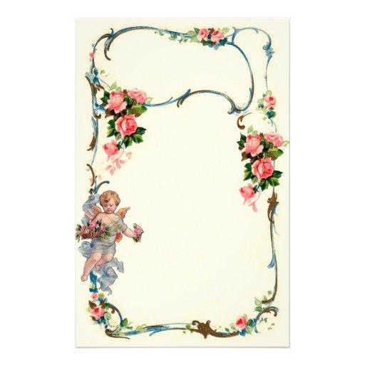 Pretty Vintage Rose & Cherub Border Decoration Custom Stationery