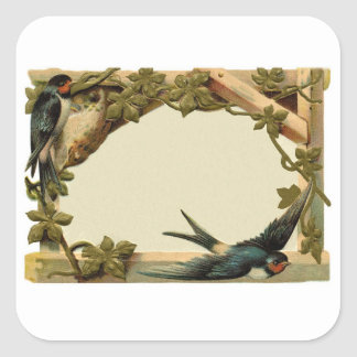 Pretty Vintage Rustic Blank Ivy & Swallow Border Square Sticker