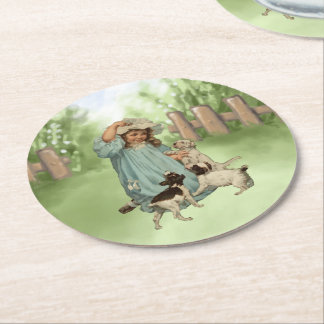 Pretty Vintage style girl with terrier dogs Round Paper Coaster
