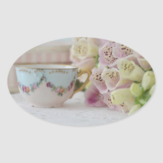 Pretty Vintage Tea Cup with Foxgloves Stickers