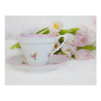 Pretty Vintage TeaCup and Tulips Postcards