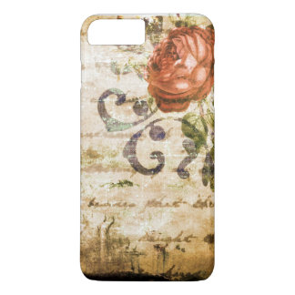 Pretty Vintage Victorian Sepia Rose Parchment iPhone 7 Plus Case