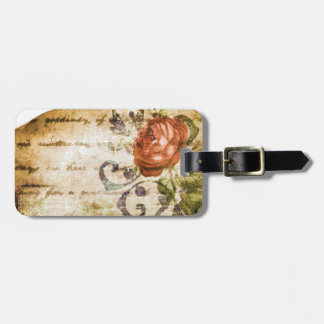 Pretty Vintage Victorian Sepia Rose Parchment Luggage Tag