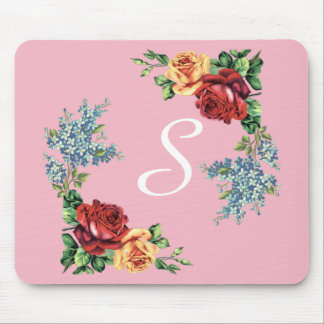 Pretty Vintage Watercolor Roses Monogrammed Mouse Pad