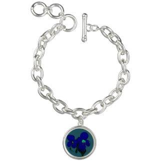 Pretty Violet/Aqua Flower Charm Bracelet