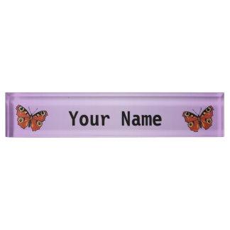 Pretty Vivid Monarch Butterfly Purple Name Plate
