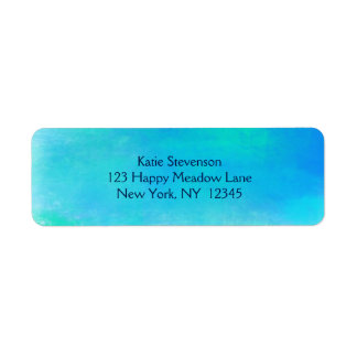Pretty Watercolor Abstract In Aqua Green and Blue Label