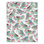 Pretty watercolor birds spring floral paint card