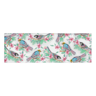 Pretty watercolor birds spring floral paint name tag