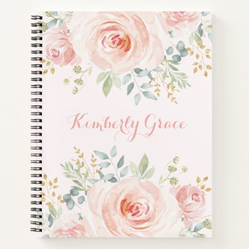 Pretty Watercolor Blush Pink Floral Boho Roses Notebook