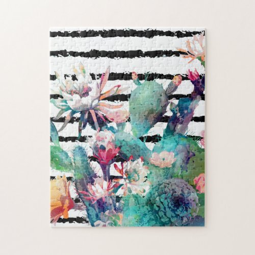 Pretty watercolor cactus floral and stripes design jigsaw puzzle