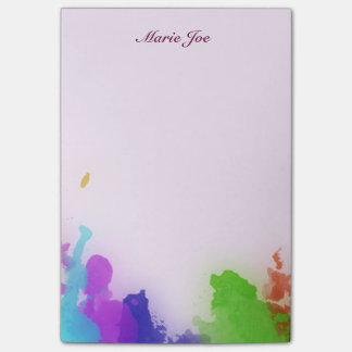Pretty Watercolor Confetti Splatter Canvas Post-it Notes